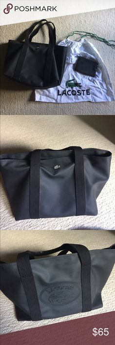 Lacoste Black Bag (PVC) Lacoste Black Bag PVC- 100% Water Resistant. Tan inside with zipper pocket and two pockets for phones or other misc items. No trades. Not bargaining. Perfect condition. Comes with a small wrist wallet and Lacoste white cover bag. Lacoste Bags Shoulder Bags