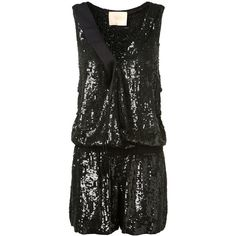 Loyd/Ford Black Sequined Playsuit ($1,690) ❤ liked on Polyvore featuring jumpsuits, rompers, sleeveless rompers, sleeveless romper, sequin rompers, sequin romper and v neck romper