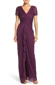 Adrianna Papell Draped Mesh Gown available at #Nordstrom