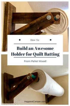 How to make a quilt batting holder from pallet wood.Get that roll of quilt batting off the floor and on the wall with this holder made from pallet wood. Unique Home Decor, Home Decor Items, Diy Pallet Projects, Pallet Ideas, Wood Ideas, Sewing Projects, Sewing Tips, Craft Projects, Decor Ideas