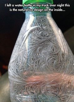 Frozen Humidity Within The Bottle Make Interesting Designs - So beautiful!  It strongly reminds me of Victorian scrollwork and ornament.  I wonder why it swirls rather than makes arcs or lines, as frost often does.  Neat!!!