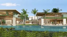This super luxury villa is a dream house located on the Emirates Hills Golf Estate that was designed by SAOTA and AA Interiors. The villa is also overlooking a series of beautiful. Dubai Houses, Pool Houses, Golf Estate, Luxury Villa, Modern House Design, Water Features, Sims, Beautiful Homes, Exterior