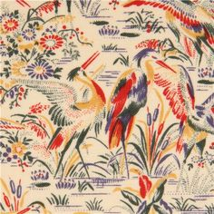 ecru crane fabric by Timeless Treasures USA.   This is lovely.