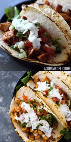 Easy 20 Minute Chicken Tacos Quick 20 minute grilled chicken tacos topped with pico de gallo and creamy cilantro sauce. These spicy tacos are perfect for weeknight dinners and are sure to please the entire family. Crockpot Recipes, Soup Recipes, Chicken Recipes, Cooking Recipes, Chicken Taco Sauce Recipe, Butter Chicken, Easy Dinner Recipes, Breakfast Recipes, Healthy Snacks