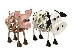 IMAX 84106-2 Osceola Metal Pig and Cow - Set of 2