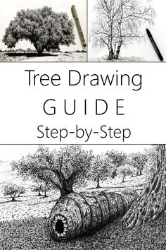 Learn to draw any tree in a realistic style with pen and ink. Line drawing tutorial for beginners with step-by-step drawing and sketching examples. #drawing #pendrawing #linedrawing #drawingtutorial Pencil Sketch Tutorial, Pencil Drawing Tutorials, Sketches Tutorial, Landscape Drawing Tutorial, Landscape Drawings, Landscape Paintings, Realistic Pencil Drawings, Pencil Art Drawings, Drawing Tutorials For Beginners