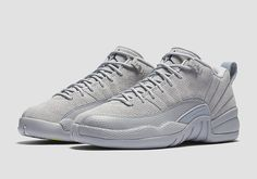 "The Nike Air Jordan 12 Retro Low ""Wolf Grey"" is available now at kickbackzny.com.  _ The season of the Air Jordan 12 Low continues with the release of this new Wolf Grey colorway on March 18th 2017. This upcoming 2017 Jordan release features hints of navy and yellow on the heel-tab insoles and tongue alluding to Jordan Brands connection with Michigan."
