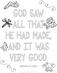 Coloring Pages for Kids by Mr. Adron: Genesis 1:31 Print