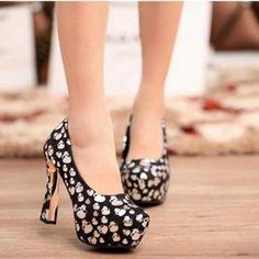 Skull Heels Pattern Party Women Fashion Shoes //Price: $52.18 & FREE Shipping //     #skull #skullinspiration #skullobsession #skulls