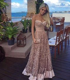 Lace Prom Dress, Long Prom Dress, Prom Dress A-Line, Champagne Prom Dress Colorful Prom Dresses, A Line Prom Dresses, Lace Party Dresses, Lace Evening Dresses, Pretty Dresses, Homecoming Dresses, Evening Gowns, Beautiful Dresses, Prom Gowns