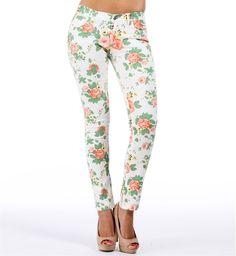 -White Floral Print Skinny Jeans