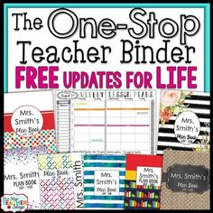 The One Stop EDITABLE Teacher Binder offers tons of useful forms, dated lesson plans, gorgeous designs, and calendars to use throughout the year. Keep yourself well organized in a stylish way while paying only a fraction of the price of what other trendy teacher planners cost.