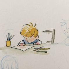 Qin Leng Ink Illustrations, Children's Book Illustration, Watercolor Illustration, Easy Cartoon Drawings, Art Drawings, Children's Book Characters, Simple Cartoon, Cute Art, Book Art