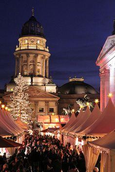 The beautiful Christmas market in Gendarmenmarkt in Berlin.