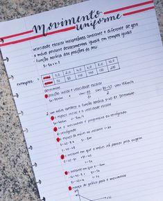 """873 curtidas, 38 comentários - Juliana Miranda (@juliana_studies) no Instagram: """"Anotações de física - Movimento Uniforme #studyblr #studygram #study #studying #lettering…"""""""