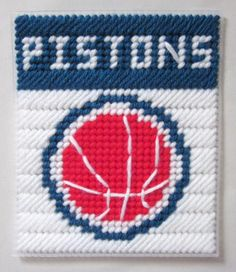 Detroit Pistons tissue box cover in plastic canvas PATTERN ONLY Plastic Canvas Tissue Boxes, Plastic Canvas Crafts, Plastic Canvas Patterns, Tissue Box Covers, Tissue Holders, Kleenex Box, Sport Craft, Box Patterns, Filet Crochet