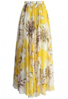 Marvel at the bold floral print of this gossamer maxi frock, you adore your reflection in this skirt as much as you love summer time! Swirl in it with a trendy off-shoulder top or cami, your summer vacation is in countdown! - Elastic waist - Lined - 100% Polyester - Machine wash gently / Hand wash Size(cm) Length Waist XS 100 58-64 S 100 64-70 M 100 70-76 L 110 76-82 XL 110 82-88 XXL 110 ...