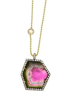 Jemma Wynne 18K Limited Edition Necklace with Bicolor Tourmaline, Pave and Rosecut Diamonds.
