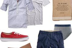Garb: Rose Bowl Flea Apolis Market Bag ($58). Scotch & Soda Mixed Kaftan Shirt ($105). ($10/4pk). Element Harlem Henley ($26). J.Crew Lightweight Brunswick Cargo Shorts ($60). Vans Authentic Sneakers ($45). J Fold Loungemaster Wallet ($60).