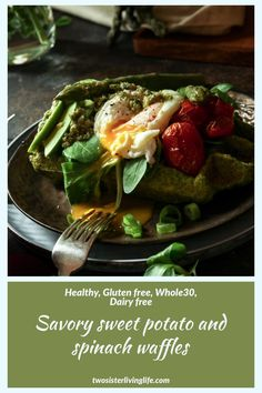 This healthy savory sweet potato and spinach waffles recipe give you a change from your ordinary breakfast routine. The waffles are gluten and dairy free. Savory Waffles, Sweet Potato Waffles, Savory Breakfast, Waffle Recipes, Brunch Recipes, Breakfast Recipes, Whole 30 Recipes, Real Food Recipes, Yummy Food