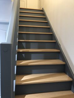 Painted Staircases, Staircase Handrail, Staircase Design, Painting Wooden Stairs, Tiled Hallway, Concrete Stairs, Stair Makeover, Stair Decor, Small Hallways