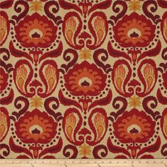 Screen printed on cotton duck; this medium weight fabric is soil resistant and versatile. This fabric is perfect for window treatments (draperies, valances, curtains, and swags), duvet covers, pillow shams, accent pillows and upholstery. Colors include orange, burgundy, persimmon, gold and khaki.