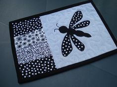 Black and White Dragonfly Recycled Denim by BackPocketDesign