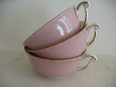 Treasury Item - French vintage set of 3 china tea cups on Etsy, $20.25
