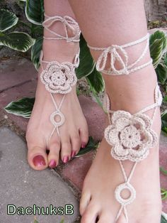 Hand crocheted sexy barefoot lace sandals in cream color made from pure cotton yarn (nr 70). $12.00, via Etsy.