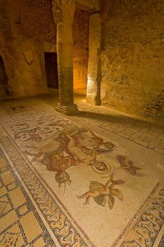 Mosaic of Venus and Centaurs, Underground Palace, Roman archeological ruins, Bulla Regia, Tunisia.