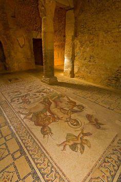 Mosaic of Venus and Centaurs, Underground Palace, Roman archeological ruins, Bulla Regia, Tunisia.