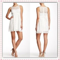 "✨NANETTE LEPORE White Eyelet Gathered Dress ~ NWT NANETTE LEPORE White Delicate Crochet Dress ~ Dress up or just wear a cute pair of sandals ~ Knee Length ~ approx 34"" long ~ Hidden back zipper ~ Crochet overlay ~ Lined  Trades or Holds ✅ Use offer option ❤️ Bundles Nanette Lepore Dresses"
