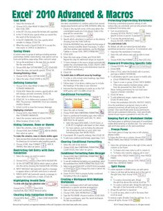 Microsoft Excel 2010 Advanced & Macros Quick Reference Guide (Cheat Sheet of Instructions, Tips & Shortcuts - Laminated Card)