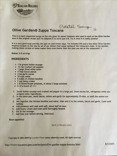 Olive Garden Zuppa Toscana My family thought it tasted bett Olive Garden Soup Toscana, Zuppa Toscana Soup, Olive Garden Pasta Fagioli, Olive Garden Minestrone Soup, Crockpot Recipes, Soup Recipes, Cooking Recipes, Zoupa Toscana, Soups