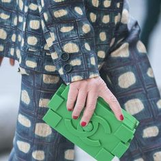 Green Chanel Street Style @ #pfw Paris #Fashion Week