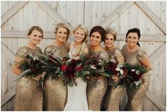 Josie England Photography. Barn wedding. Fall wedding. Fall wedding colors. Fall wedding inspiration. Sequins bridesmaid dresses. God bridesmaid dresses.