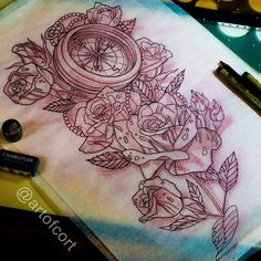 Sketch to add onto the bloody rose tattoo Cort did recently #compass #rose #sketch #artwork