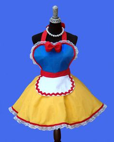 """Aprons - Women's Retro Apron, """"Red Yellow Blue Fairy Tale"""" Costume Apron - MADE TO ORDER on Etsy, $40.95"""