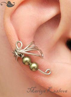 SALE Ear Wrap Small Fantasy  Dragonfly  Khaki Color by KOZLOVA, $7.95