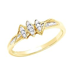 1/10 ct D/VVS1 Diamond Marquise Cluster Promise Ring 14K Yellow Gold Over $999 #AffinityFashionJewelry #Cluster #EngagementWeddingAnniversaryMemorialDay