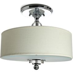 Cast a warm glow in your kitchen or dining room with this polished chrome-finished semi-flush mount, featuring an orb accent and drum shade.  Product: Sem...