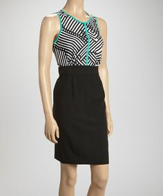 Look at this #zulilyfind! Black & Turquoise Geometric Sleeveless Dress by Shelby & Palmer #zulilyfinds