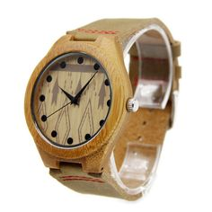 Watch Bracelets – Handmade wood watch leather Bamboo Wooden Watch – a unique product by suyuje on DaWanda