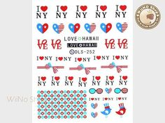 I Love NY Water Slide Nail Art Decals - 1pc (DLS-252)