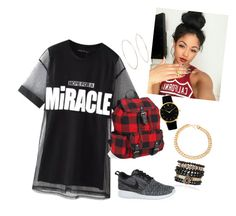 """""""Back to school with me"""" by mariamakbbh ❤ liked on Polyvore featuring Chicnova Fashion, Aéropostale, NIKE, Samantha Wills, Larsson & Jennings, Alessandra Rich and Michael Kors"""
