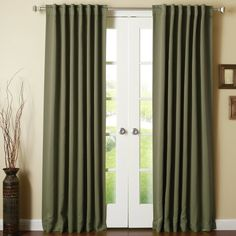 Beachcrest Home Sweetwater Solid Blackout Thermal Rod Pocket Double Curtains Curtain Color: Olive, Size per Panel: x