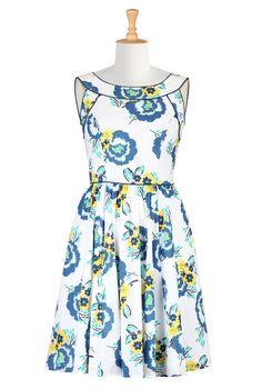 White Floral Print Dresses, A-Line Cotton Dresses For Spring Womens stylish dress - Cocktail dresses, bridesmaid dresses, designer dresses, womens short sleeve dresses   eShakti