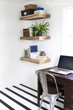 black and white striped office floors