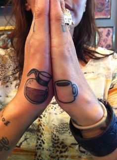 Coffee Tattoos by A.R.T. Graduate Carlos. Click for more food tattoo inspiration.