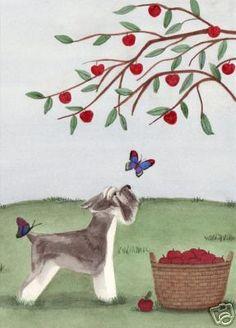 Miniature Schnauzer Investigates Butterflies Lynch Signed Folk Art Print | eBay